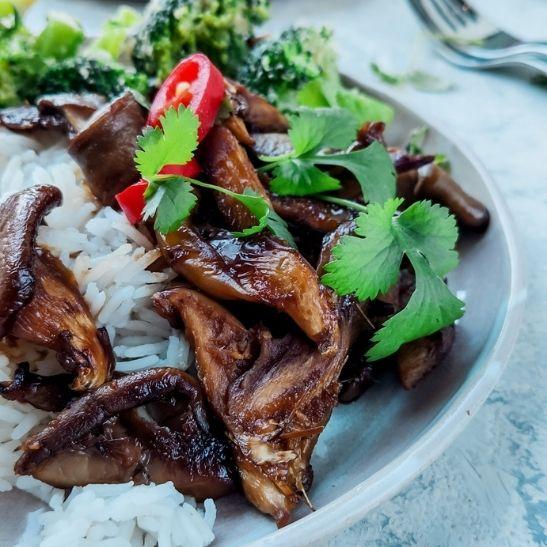 boczniaki, danie azjatyckie, wegetariański przepis obiady na diecie, fit przepisy, pomysł na obiad