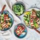 wegetariański grill, sałatka z halloumi